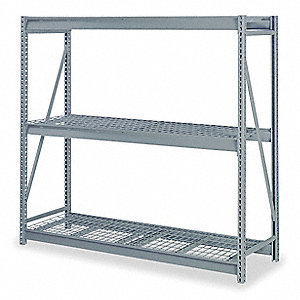 "48"" x 24"" x 72"" Steel Bulk Storage Rack Starter Unit, Gray&#x3b; Number of Shelves: 3"