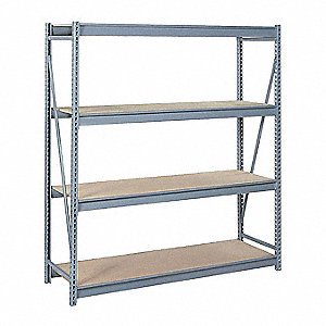 "Starter Bulk Storage Rack with Particle Board Decking and 4 Shelves, 96""W x 48""D x 120""H"