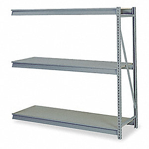 "Add-On Bulk Storage Rack with Particle Board Decking and 3 Shelves, 96""W x 48""D x 72""H"