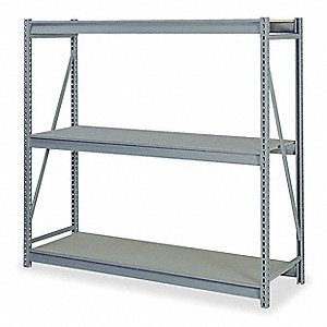 "Starter Bulk Storage Rack with Particle Board Decking and 3 Shelves, 96""W x 24""D x 72""H"