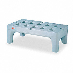 "30"" x 22"" x 12"" Polyethylene w/Antimicrobial Treatment Dunnage Rack with 1500 lb. Load Capacity, Gra"