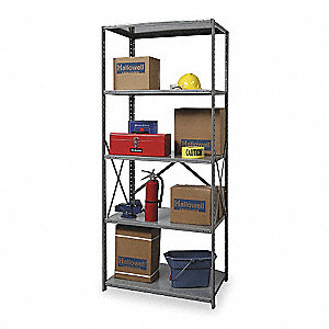 "36"" x 24"" x 87"" Starter Steel Shelving Unit, Gray"