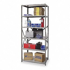 "Metal Shelving,Open,Starter,87""H,6 Shelf"