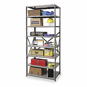 "Metal Shelving,Open,Starter,87""H,8 Shelf"