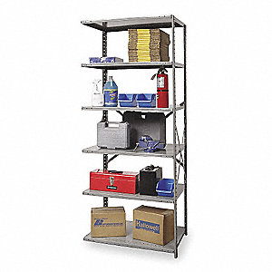 "48"" x 18"" x 87"" Add-On Steel Shelving Unit, Gray"