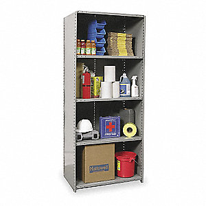 "Starter Closed Metal Shelving, 48""W x 12""D x 87""H, 1875 lb. Load Cap., 5 Shelves, Dark Gray"