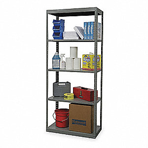 "48"" x 24"" x 87"" Freestanding Steel Shelving Unit, Gray"
