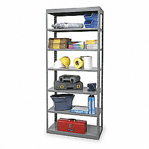 "48"" x 24"" x 87"" Freestanding Steel Pass Through Shelving Unit, Gray"