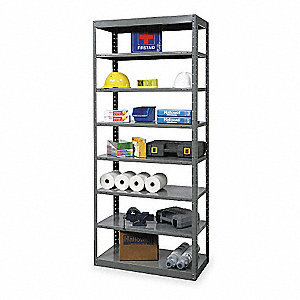 "Freestanding Open Metal Shelving, 36""W x 24""D x 87""H, 6400 lb. Load Cap., 8 Shelves, Dark Gray"