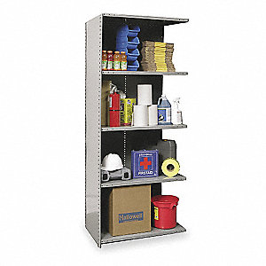 "Add-On Closed Metal Shelving, 36""W x 24""D x 87""H, 6250 lb. Load Cap., 5 Shelves, Dark Gray"