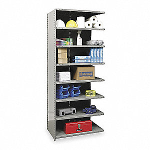 "Add-On Closed Metal Shelving, 48""W x 24""D x 87""H, 4000 lb. Load Cap., 8 Shelves, Gray"