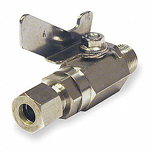 "316 Stainless Steel Comp. x NPSM Male Ball Valve, 3/8"" Pipe Size"