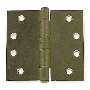 "4"" x 4"" Butt Hinge with Dull Brass Finish, Full Mortise Mounting, Square Corners"
