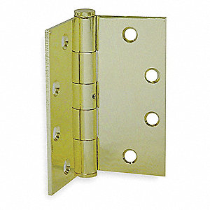 "4-1/2"" x 4-1/2"" Butt Hinge with Bright Brass Finish, Full Mortise Mounting, Square Corners"