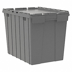 "21-1/2""L x 15""W x 17""H Industrial Grade Polymer Attached Lid Container, Gray"
