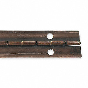 "180° Continuous Hinge With Holes, Antique Bronze Finish, 72"" x 1-1/2"""
