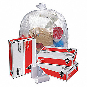 30 gal. Clear Trash Bags, Medium Strength Rating, Coreless Roll, 500 PK