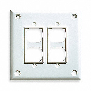 Duplex Receptacle Wall Plate, White, Number of Gangs: 2, Weather Resistant: No