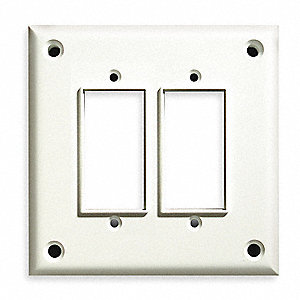 Rocker/GFI Wall Plate,  White,  Number of Gangs 2,  Weather Resistant No