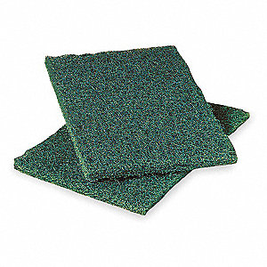 "9"" x 6"" Synthetic Fiber Scouring Pad, Green, 12PK"