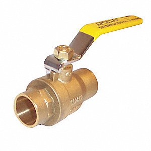 "Brass Sweat x Sweat Ball Valve, Lever, 1/2"" Pipe Size"