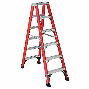 6 ft. 375 lb. Load Capacity Fiberglass Twin Stepladder
