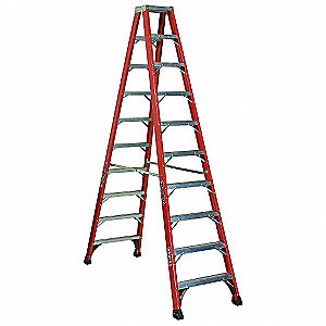 10 ft. 375 lb. Load Capacity Fiberglass Twin Stepladder