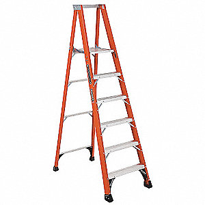 "Fiberglass Platform Stepladder, 7 ft. 9"" Ladder Height, 5 ft. 8"" Platform Height, 375 lb."