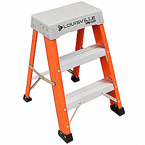 "Fiberglass Step Stool, 24"" Overall Height, 300 lb. Load Capacity, Number of Steps 2"