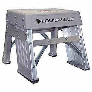"Aluminum Step Stand, 12"" Overall Height, 300 lb. Load Capacity, Number of Steps 1"