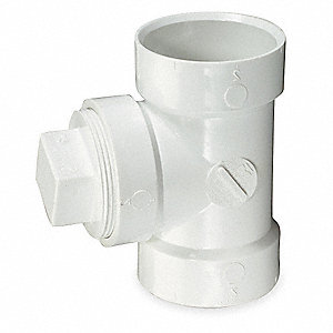 CLEAN OUT TEE,W/PLUG,2 IN,PVC,WH