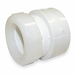 TRAP ADAPTER,W/NUT,1 1/2 IN,PVC,WH