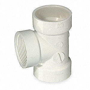 "PVC Flush Clean Out Tee, FNPT x Hub x Hub, 2"" Pipe Size - Pipe Fitting"