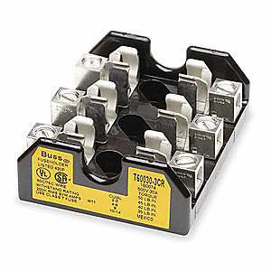3-Pole Industrial Fuse Block, AC: 600VAC, DC: Not Rated, 0 to 30A, Series JJS, LPT