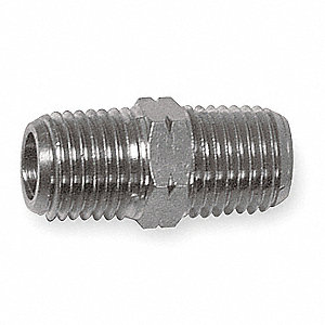 "Chrome Plated Brass Hex Conversion Nipple, MNPT x MBSP, 3/8"" Pipe Size,  1 EA"