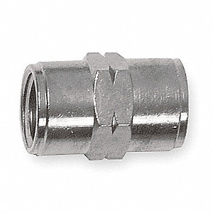 "Nickel Plated Brass Female Coupling, FNPT, 1/2"" Pipe Size,  1 EA"