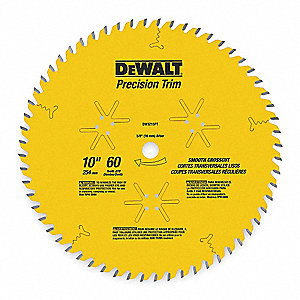 "10"" Carbide Combination Circular Saw Blade, Number of Teeth: 60"