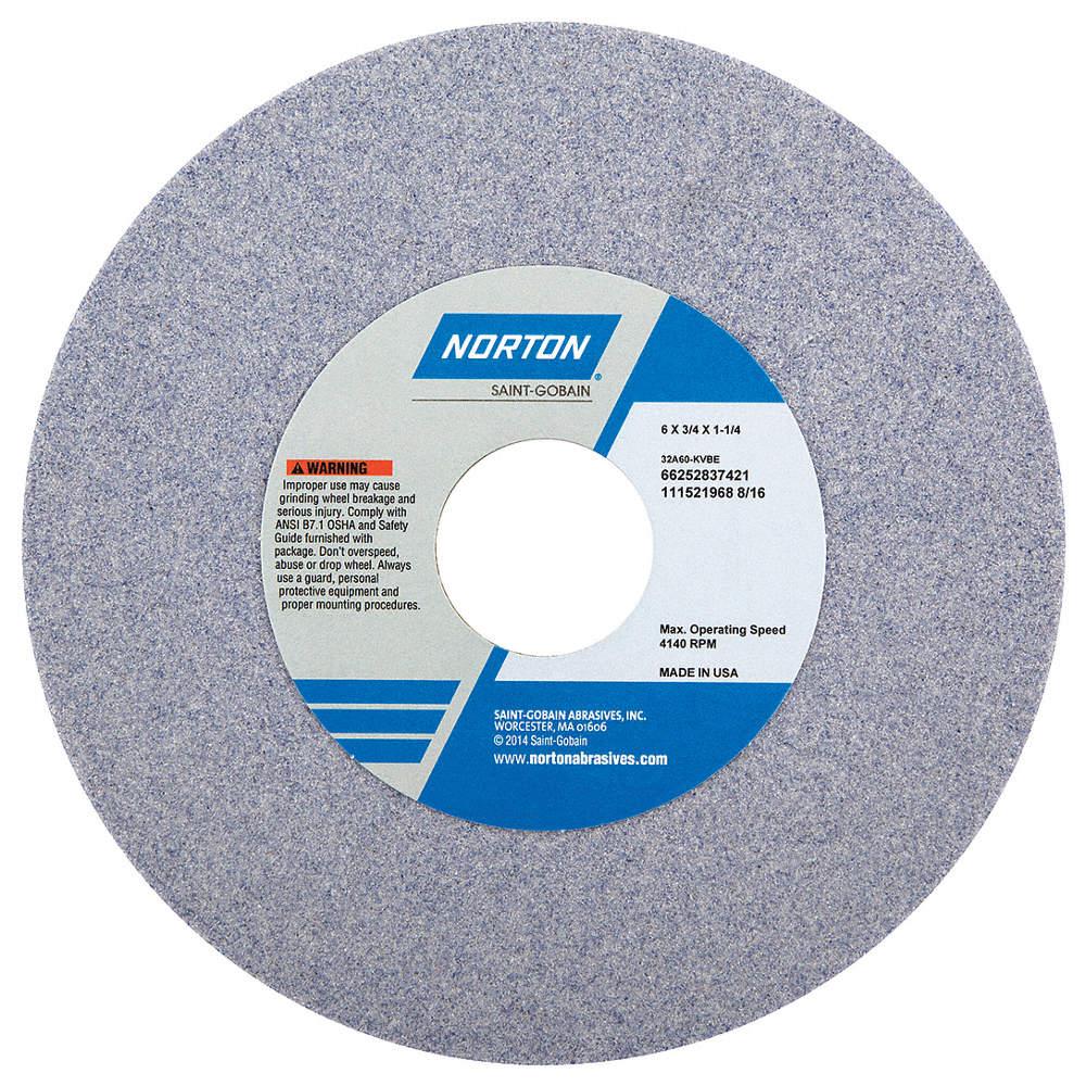 36 Grit 1-1//4 Arbor RPM 2485 Max Norton 10 Type 1 Aluminum Oxide Straight Grinding Wheel 1 Thick
