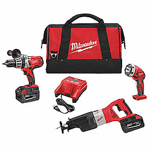 Cordless Combination Kit, 28.0 Voltage, Number of Tools 3
