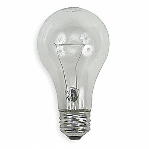 40 Watts Incandescent Lamp, A19, Medium Screw (E26), 480/455 Lumens, 2700K Bulb Color Temp., 1 EA