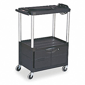 Cart with Cabinet,42Hx32 3/4W,Black