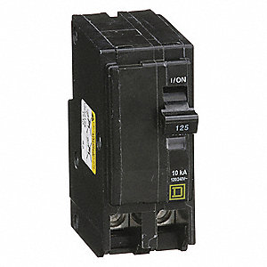 Plug In Circuit Breaker, QO, Number of Poles 2, 125 Amps, 120/240VAC, Standard