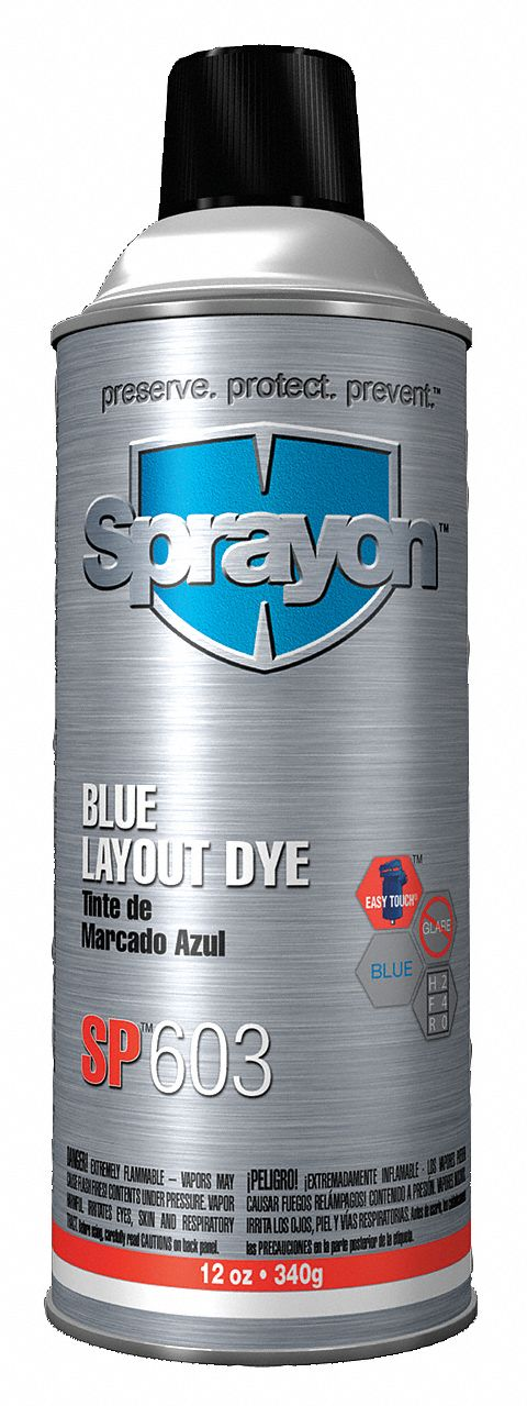 Machining Layout Fluid,  Container Size 16 oz,  Aerosol Can,  Liquid,  Blue