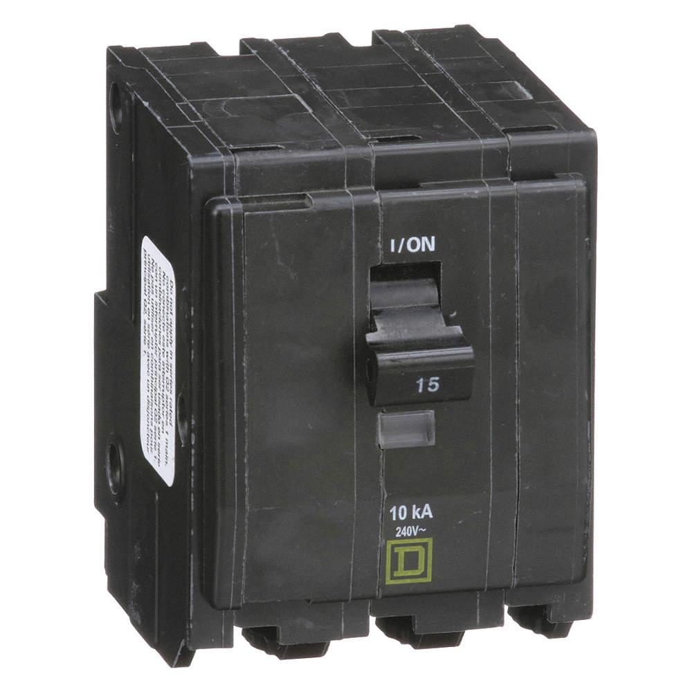 SQUARE D Plug In Circuit Breaker, QO, Number of Poles 3, 15 Amps ...