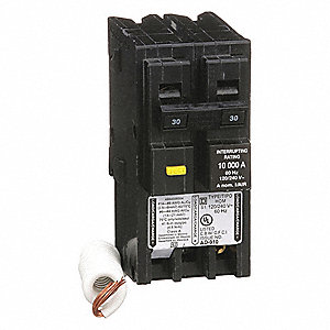 Plug In Circuit Breaker, HOM, Number of Poles 2, 30 Amps, 120/240VAC