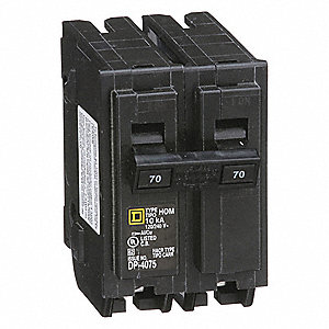 Plug In Circuit Breaker, HOM, Number of Poles 2, 70 Amps, 120/240VAC, Standard