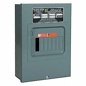 Load Center, Main Lug,100 Amps,120/240VAC Voltage,Number of Spaces: 6