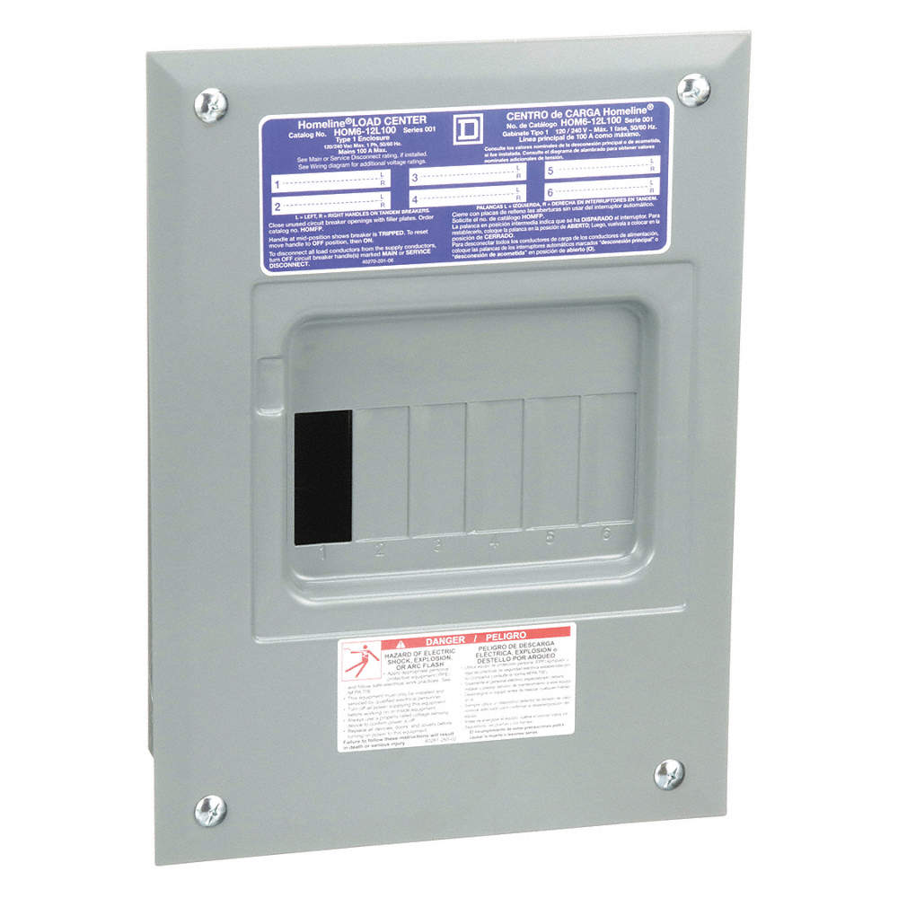 Load Center, Main Lug,100 Amps,120/240VAC Voltage,Number of Spaces: on
