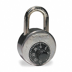 "Combination Padlock, Not Resettable Center-Dial Location, 1"" Shackle Height"