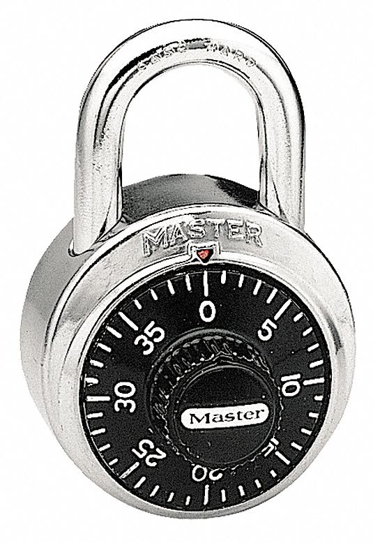 Combination Padlock,  Single Preset,  Front Dial Location,  Horizontal Shackle Clearance 13/16 in
